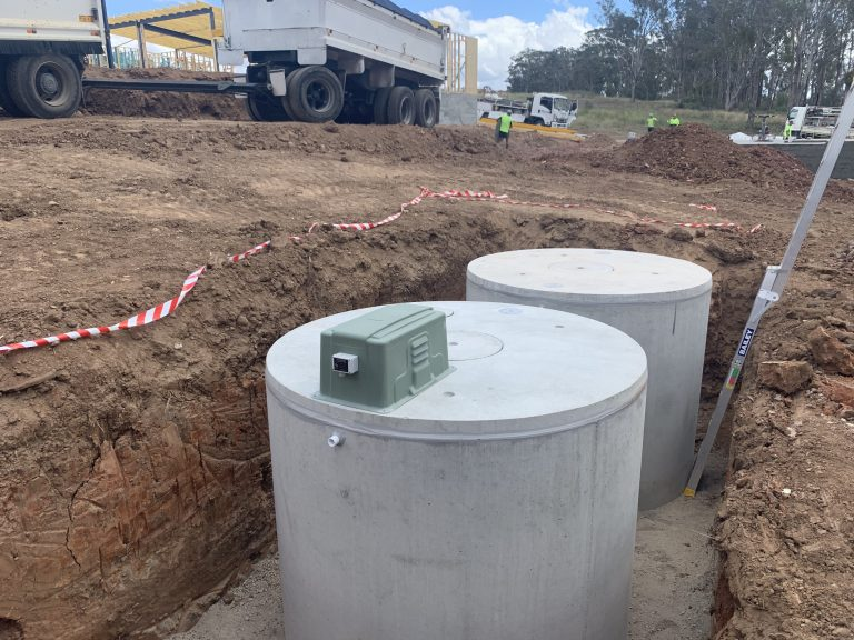 maxi series commercial 2 concrete tanks installed in a hole
