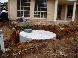septic tank in the a hole in the ground
